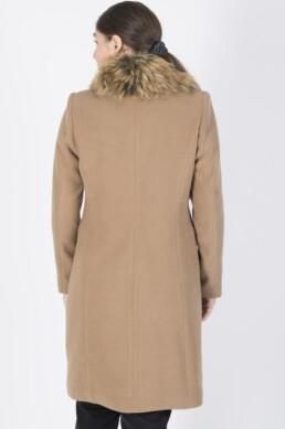 Βισκόζ βελούρ παλτό με αποσπώμενο γούνινο γιακά