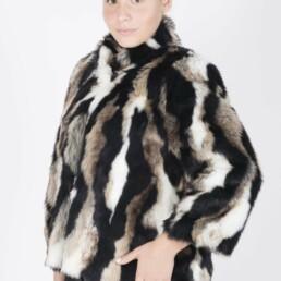 Πολύχρωμη συνθετική γούνα-παλτό