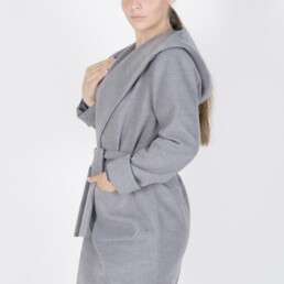 Bισκόζ βελούρ παλτό με κουκούλα και ζώνη